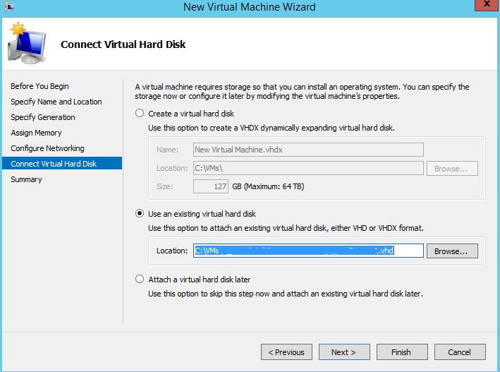 Windows Server 2012R2: Import HyperV machines from Server