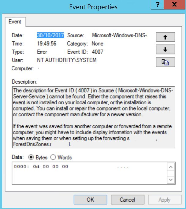 microsoft dns error 4000 and error 4007 it blogaccording to microsoft s support microsoft com en us help 2751452 dns zones do not load\u2013event 4000\u20134007 this happens in two cases