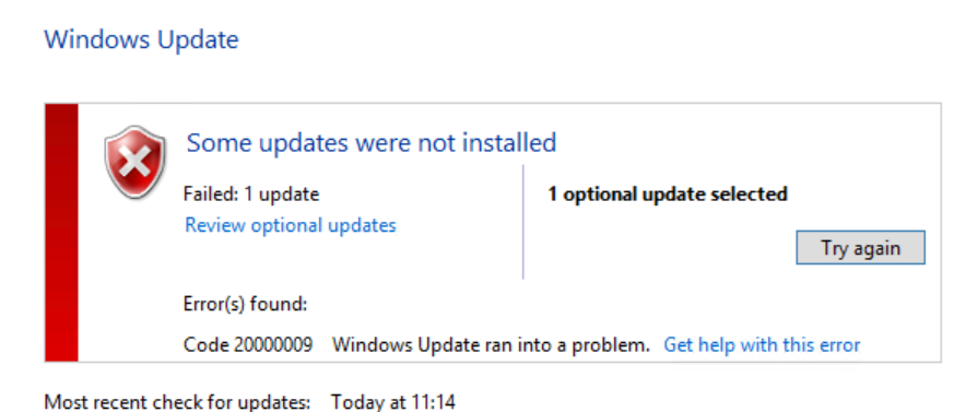 Windows Update Error Code 20000009 | IT Blog